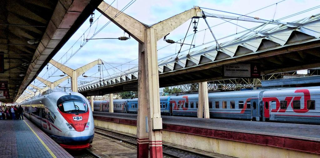 pociągi RŻD na stacji